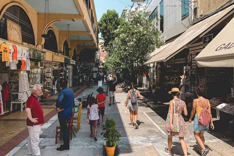 Busy street with tourists in Athens